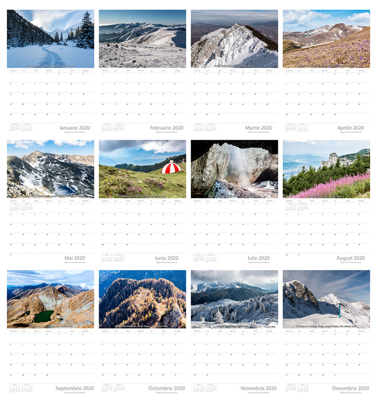 Calendar 2020, print, printabil, foto, munte, România, Carpaţi, Făgăraş, Bucegi, Iezer, Piatra Craiului, Parâng, Retezat