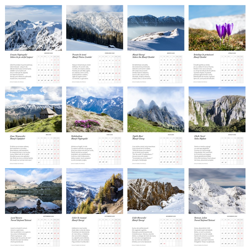 Calendar 2021, print, printabil, foto, munte, România, Carpaţi, Făgăraş, Bucegi, Iezer, Piatra Craiului, Parâng, Retezat
